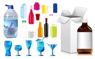 botellas y tazas vector