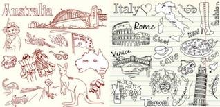 Australia e Italia el tema de material de vectores