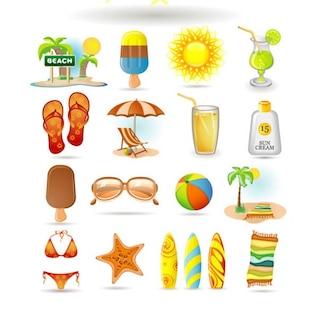 verano, el icono material de vectores