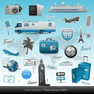 tema de los viajes vector de material
