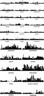 ciudad conocida silueta vector