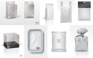 envasado en blanco material de vectores