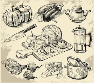 cocina, suministros boceto vectores