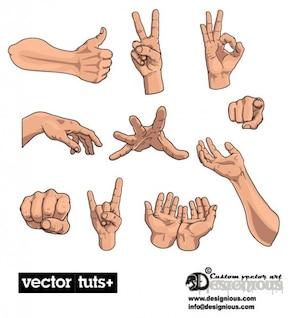 la palma de su mano vector de gestos