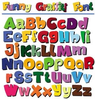 cartas de dibujos animados pop del vector alfabeto