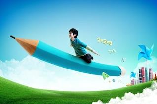 con lápiz los niños voladores psd capas