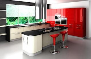 el tono de moda roja de cocina material de imagen