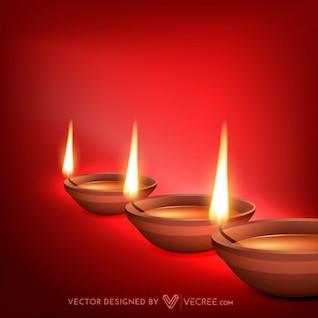 Hermosas llamas diwali tarjeta de felicitación