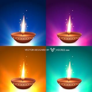 Cuatro llamas diwali conjunto de vectores