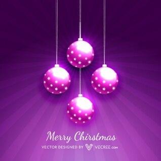 Bolas de navidad de color púrpura con estrellas