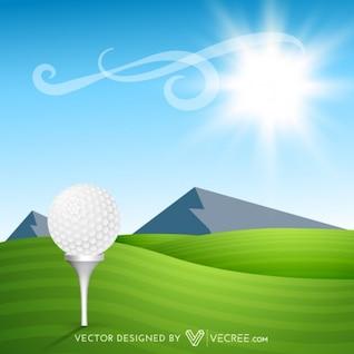 Pelota de golf en la hierba verde