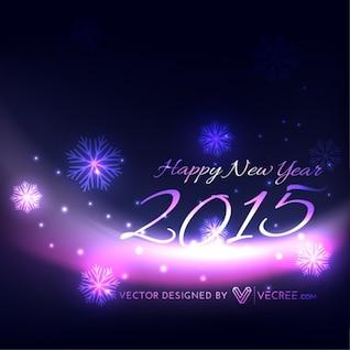 Celebración del año nuevo con copos de nieve de color púrpura