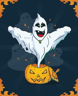 Fantasma de miedo en calabaza de Halloween
