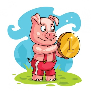 Cerdo feliz con la moneda de oro