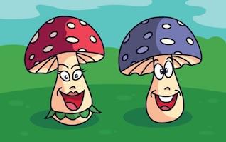Divertidos personajes de setas en la hierba