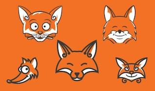 Cabezas de zorro de dibujos animados de color naranja