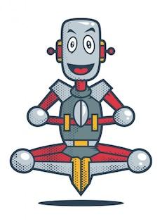 Sonriendo robot en posición de meditación