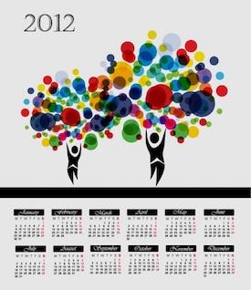 calendario de árbol colorido abstracto