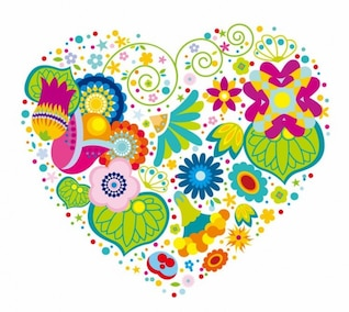 corazón floral abstracto