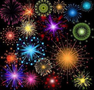 brillantes coloridos fuegos artificiales de vectores