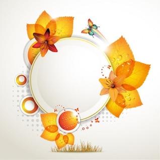 diseño redondo de ilustración vectorial hojas de otoño