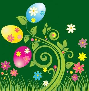 huevo de pascua con la ilustración de vector verde floral