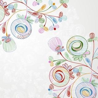 lápices de colores de estilo floral ilustración vectorial