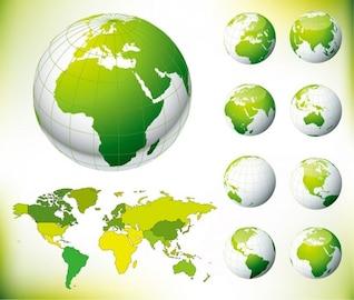 mundo y el mundo mapa verde de vectores