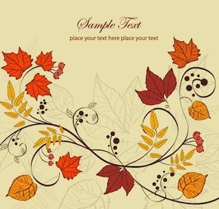 las hojas de otoño ilustración de fondo vector