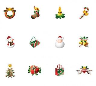 vector conjunto de iconos de la Navidad