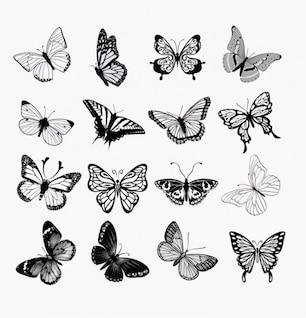 Las mariposas siluetas conjunto ilustración