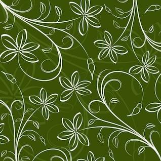 Diseño floral blanco en fondo verde
