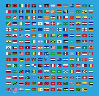 Bandera del mundo abstracto establece vector