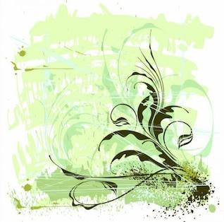 Grunge flores de fondo vector