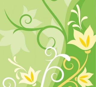 Fondo verde con flores