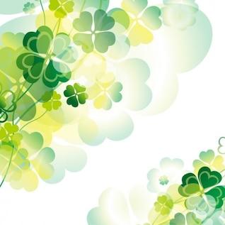 Tréboles verdes con transparencias fondo