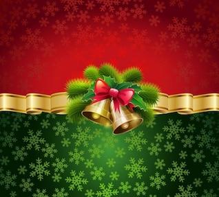 Campanas de Navidad en fondo rojo y verde
