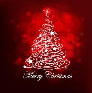 árbol de navidad de color rojo de fondo abstracto