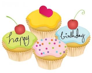 hermosa torta de cumpleaños del pequeño vector de