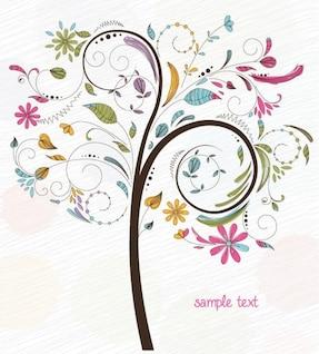 remolino abstracto de flores del árbol de gráficos vectoriales