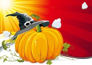 Calabaza de Halloween con la ilustración vectorial de fondo de rayos