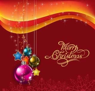 de color rojo de fondo con ilustración de Navidad las bolas de vectores