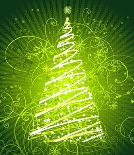 floral abstracto árbol de Navidad de gráficos vectoriales