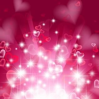 fondo del corazón abstracta en color rosa