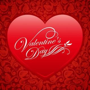 rojo corazón floral de San Valentín de vectores de fondo