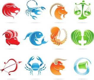 un conjunto de signos del zodiaco de gráficos vectoriales