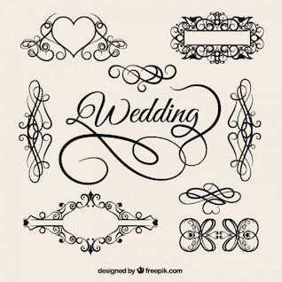 vectores clásicos elementos de la boda del patrón