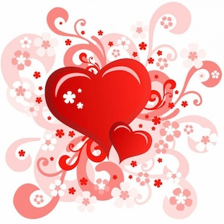 San Valentín y; s tarjeta de días con el diseño del corazón del remolino de flores