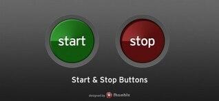 elegante interfaz de usuario web botones de parada de empezar a configurar psd