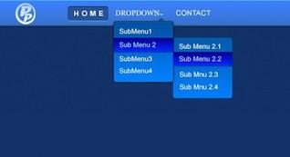 atractivo menú de navegación azul con listas desplegables